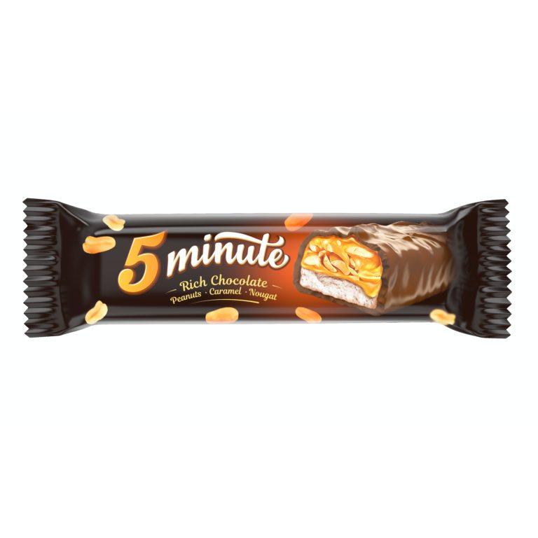 5 MINUTE. Глазированный батончик с нугой, молочной карамелью и арахисом