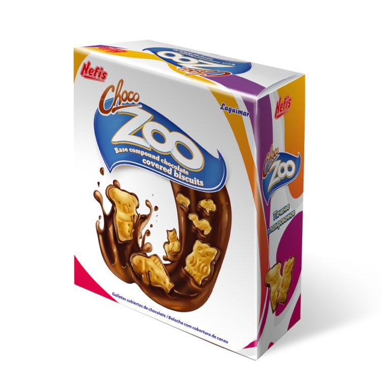 CHOCO-ZOO carton box. Печенье затяжное различной формы с глазированной нижней поверхностью в картонной упаковке