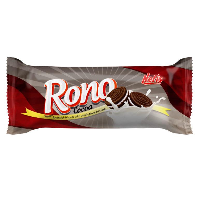 RONO cream cacao. Двойное сахарное печенье с какао и ванильным кремом